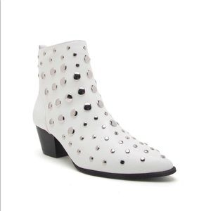 Mystique White Studded Ankle Booties